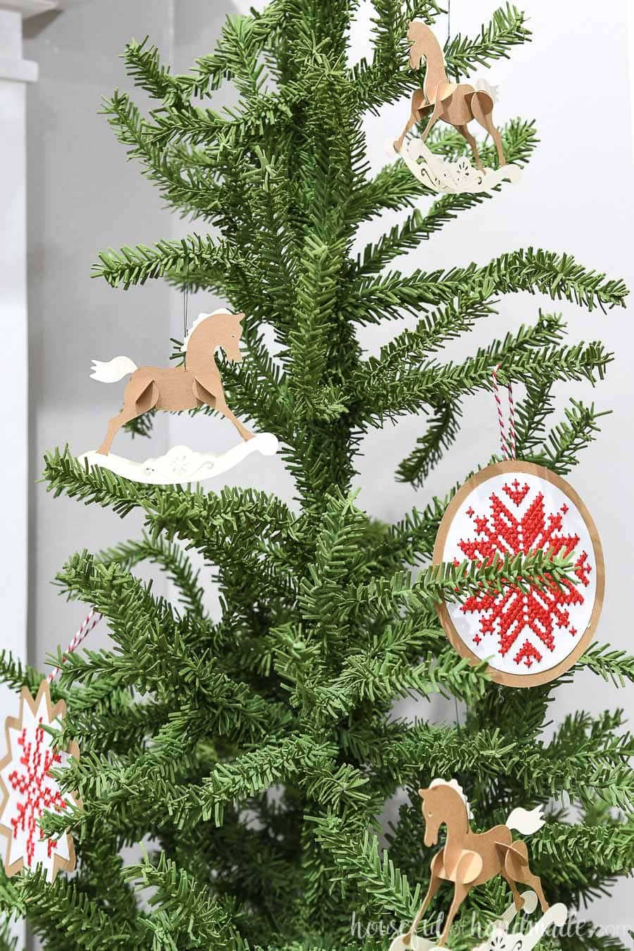Christmas tree decorated with Scandinavian inspired ornaments.