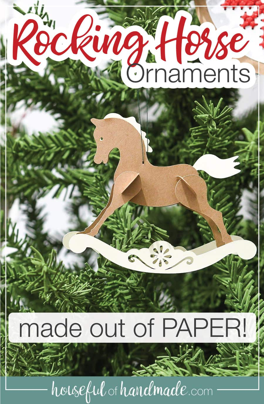Close up of the rocking horse paper Christmas ornament with text overlay.