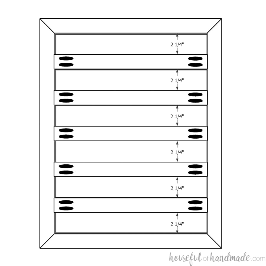 Sketchup drawing showing the spacing for attaching the slat boards to the frame.