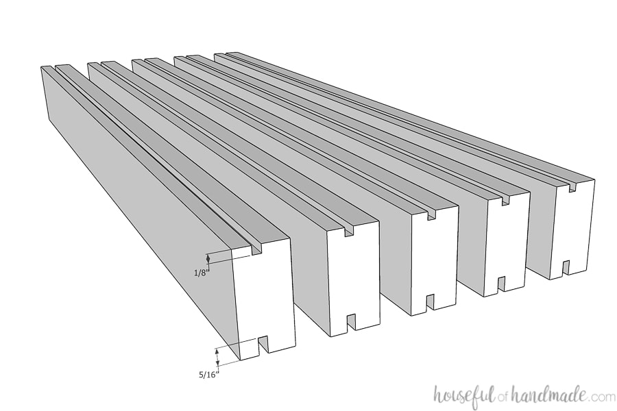 Picture showing the slats with the dimensions of the grooves cut in them.