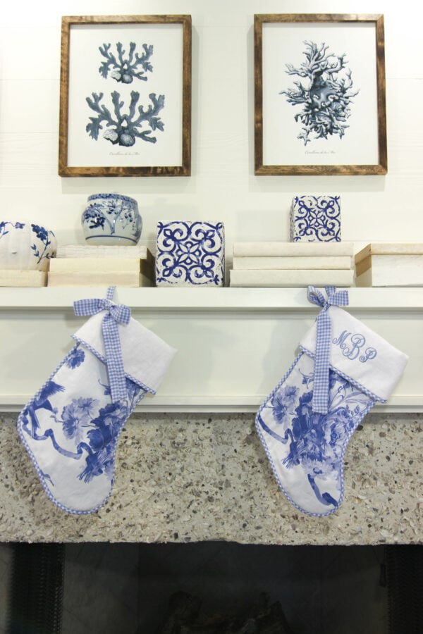 Dreaming of a Blue Christmas Chinoiserie Stocking