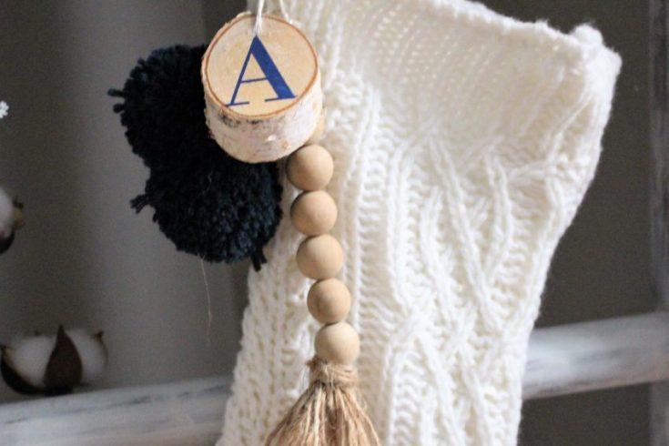 How To Make A DIY Wood Bead Christmas Stocking Tag