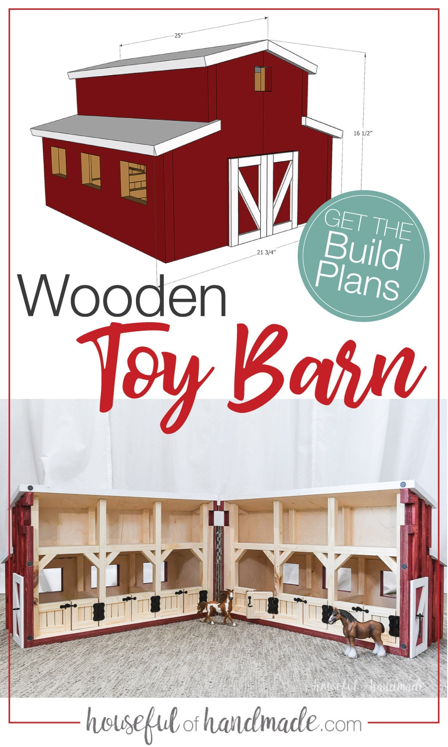 Sketchup drawing of the wooden toy barn plans and picture of the finished build opened up.