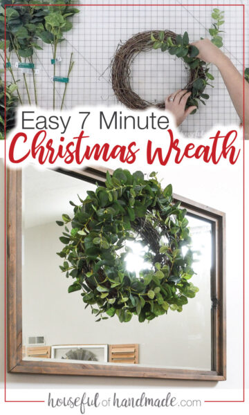 Christmas eucalyptus wreath and picture of making it.