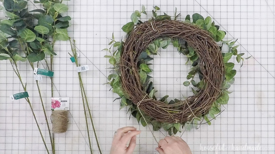 Making a place to hang the eucalyptus wreath.