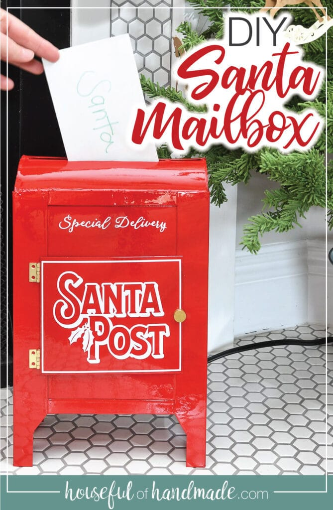 Santa Mailbox DIY with text overlay.