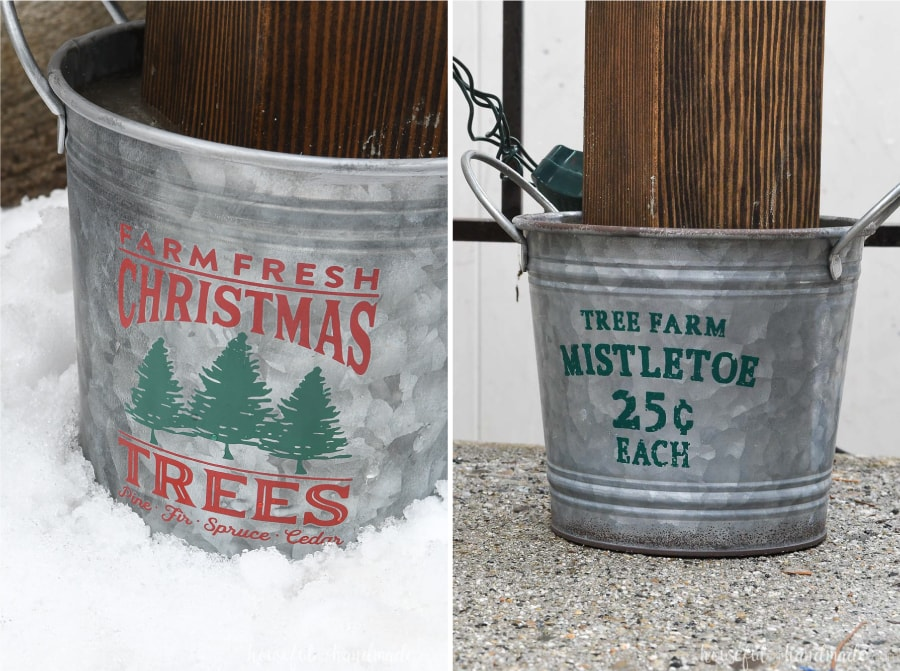 Close-up of the metal Christmas bucket bases on the wood Christmas trees.