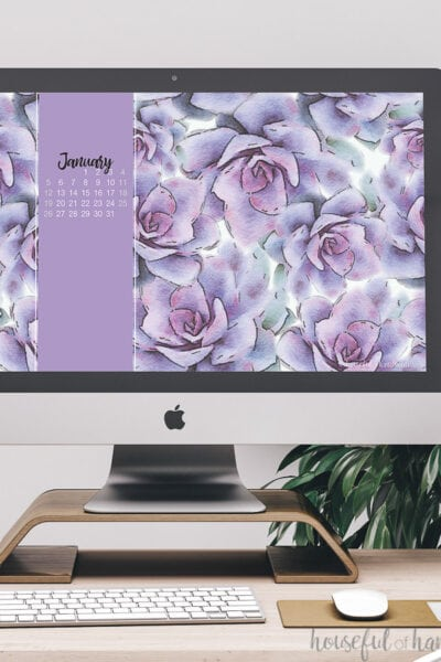 Desktop computer with the free digital background for January on the screen.