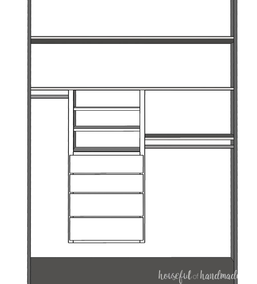 3D Sketchup drawing of the DIY closet organizer we are building for the kids closet makeover.