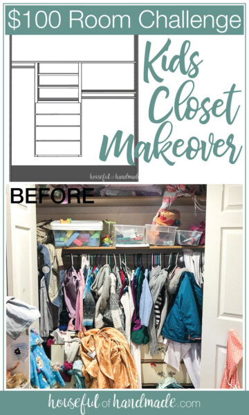 Drawing of DIY closet organizer and before photo of the messy kids closet.