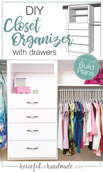 3D picture of DIY closet organizer and picture of it completed and installed in closet.
