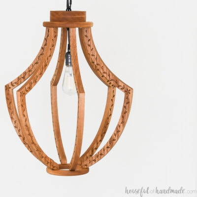 Wood light fixture with Edison lightbulb.