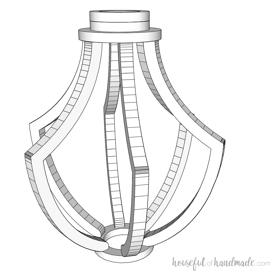 3D SketchUp drawing of the DIY wood light fixture design.