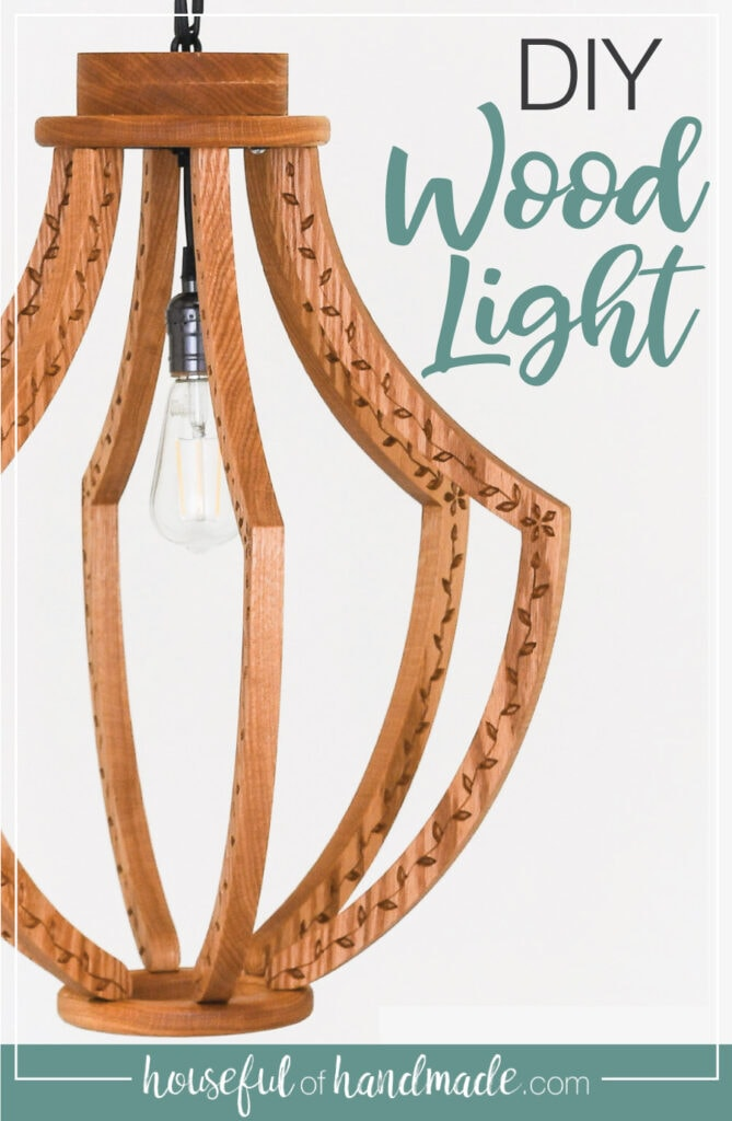 DIY Wood Light with text overlay.