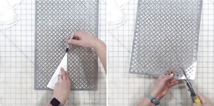Tracing the template and cutting out the center piece of metal.