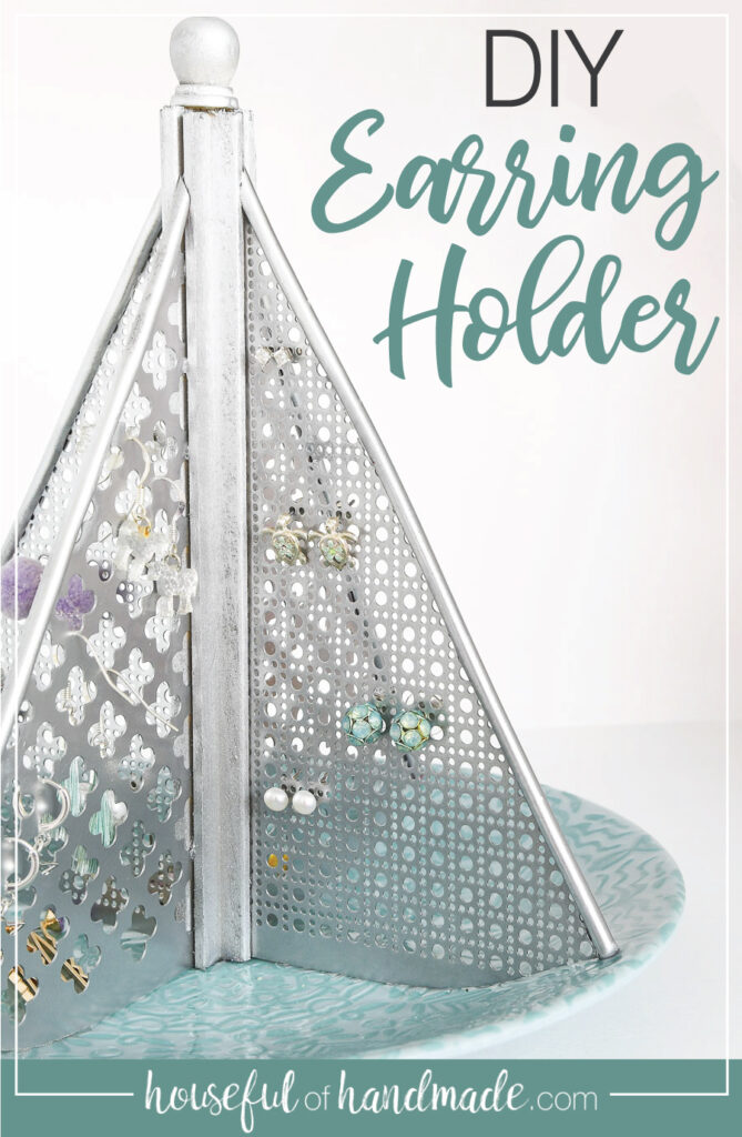 Earring holder with text overlay.