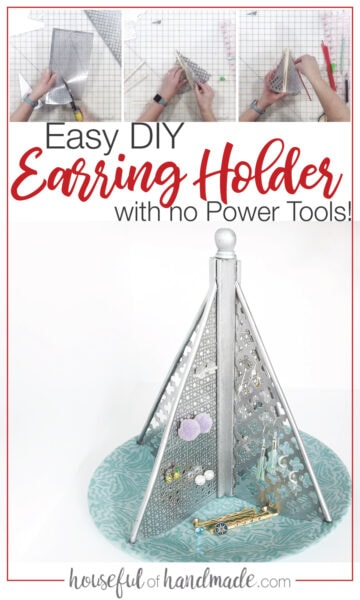 Pictures of the tutorial and final picture of the completed DIY earring holder.