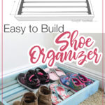 3D drawing and picture of final built shoe organizer tray.