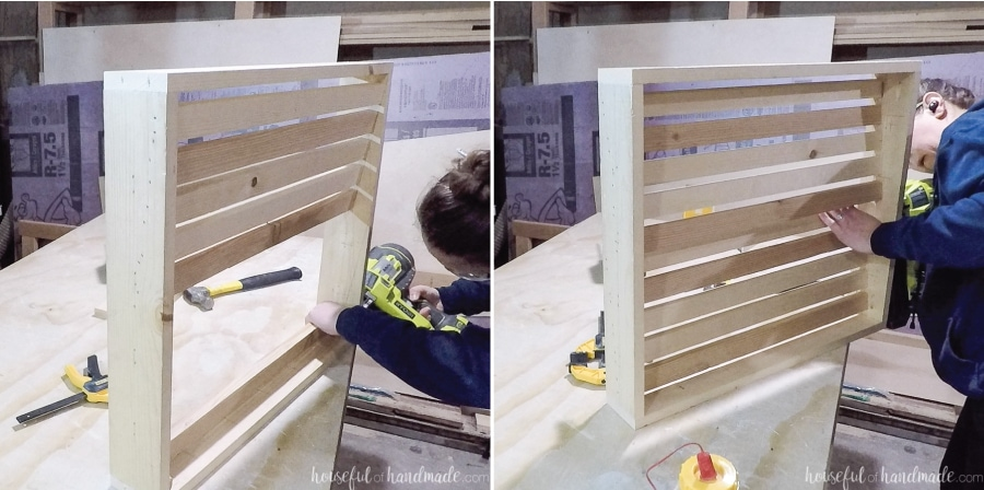 Attaching the slats of the back row flush with the angled line.
