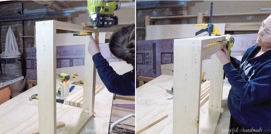 Attaching the first row slat to the inside of the frame with a finishing nail gun.