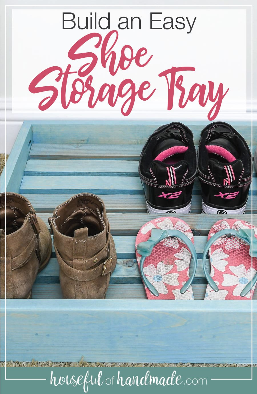 Shoe storage for the bottom of the closet with word overlay over it.