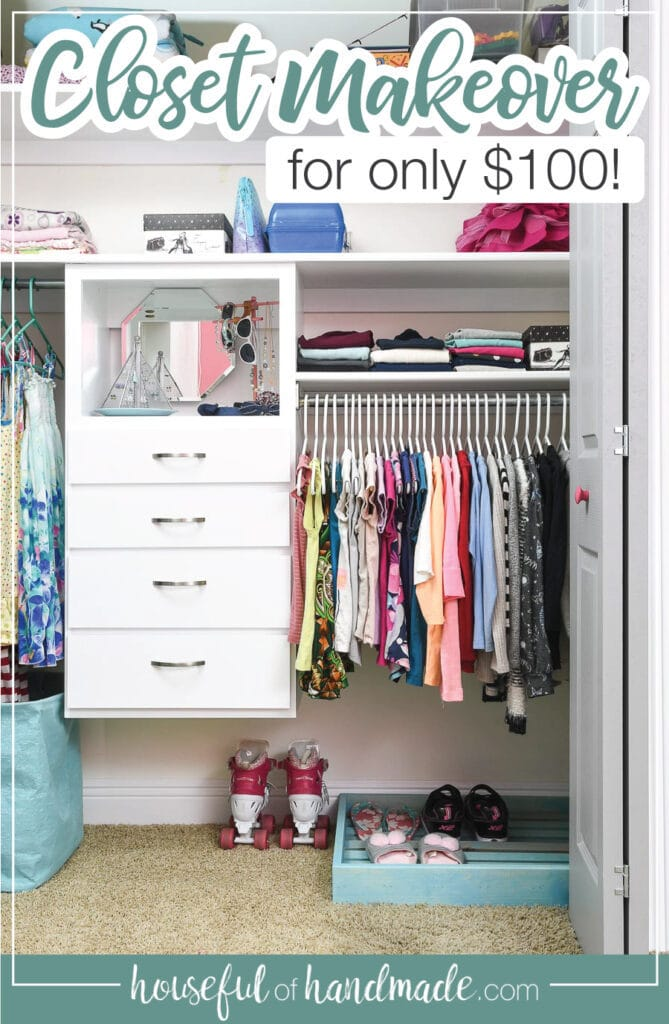 "Picture of the kids closet with closet organizer and shoe storage with text overlay ""closet makeover for only $100!""."
