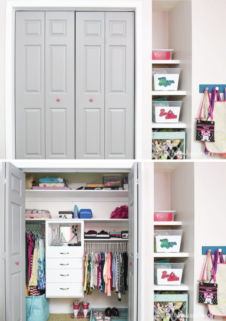 Picture of the closet with the doors closed above picture with the closet doors open showing the organized space.