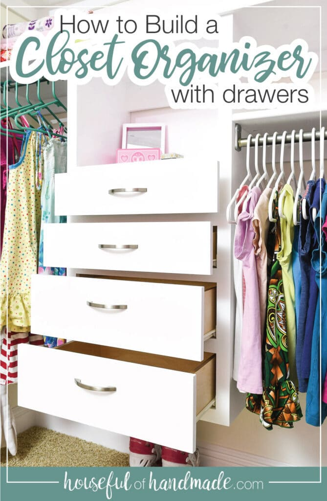 Closet organizer with drawers open in a kids closet.