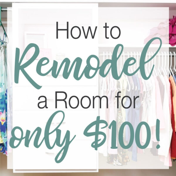 "Picture of an organized closet with text ""How to remodel a room for only $100!"" over it."
