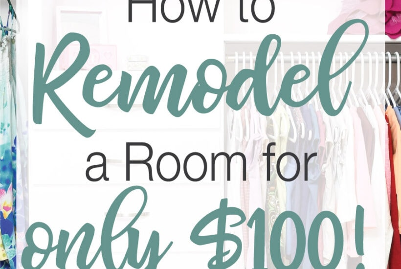 """Picture of an organized closet with text """"How to remodel a room for only $100!"""" over it."""