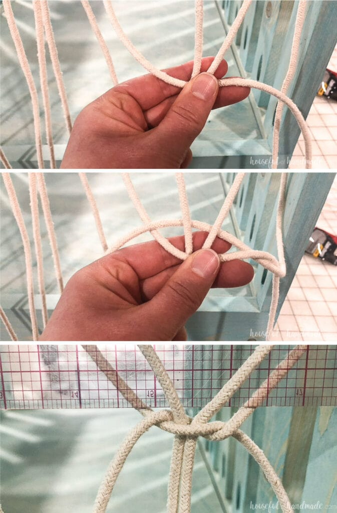 The first steps of tying the macrame net knots.