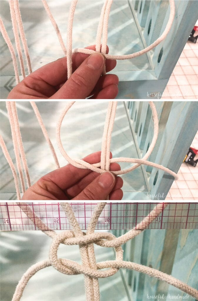 The second steps of tying a square knot around the macrame cords.
