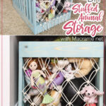 Two pictures of he DIY stuffed animal storage with text overlay.