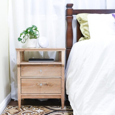 DIY tall nightstand with 2 drawers and open shelf on top made from white oak.