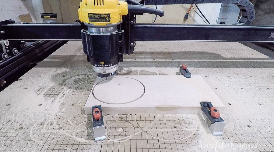 Cutting circle for the base of the jewelry stand on a CNC machine.