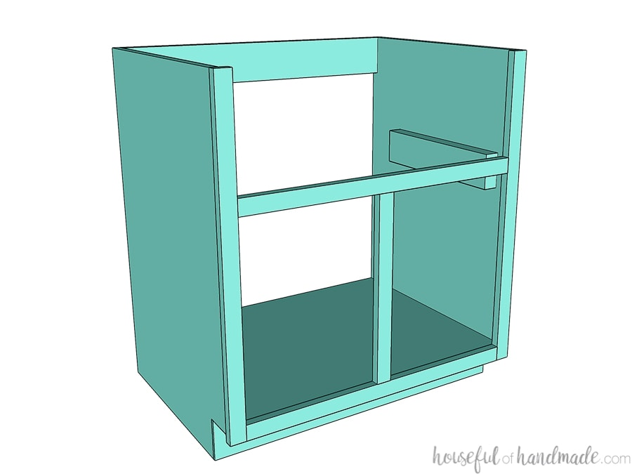 3D SketchUp drawing of the DIY farmhouse sink base cabinet.