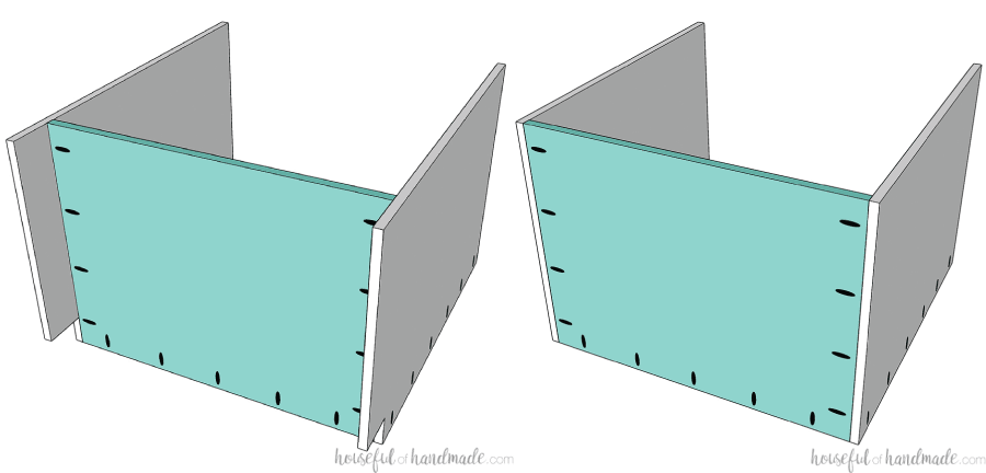 Two 3D drawings of the sink base cabinet being assembled, one with a notched out toe kick and one with a flat bottom to be installed on a 2x4 base.