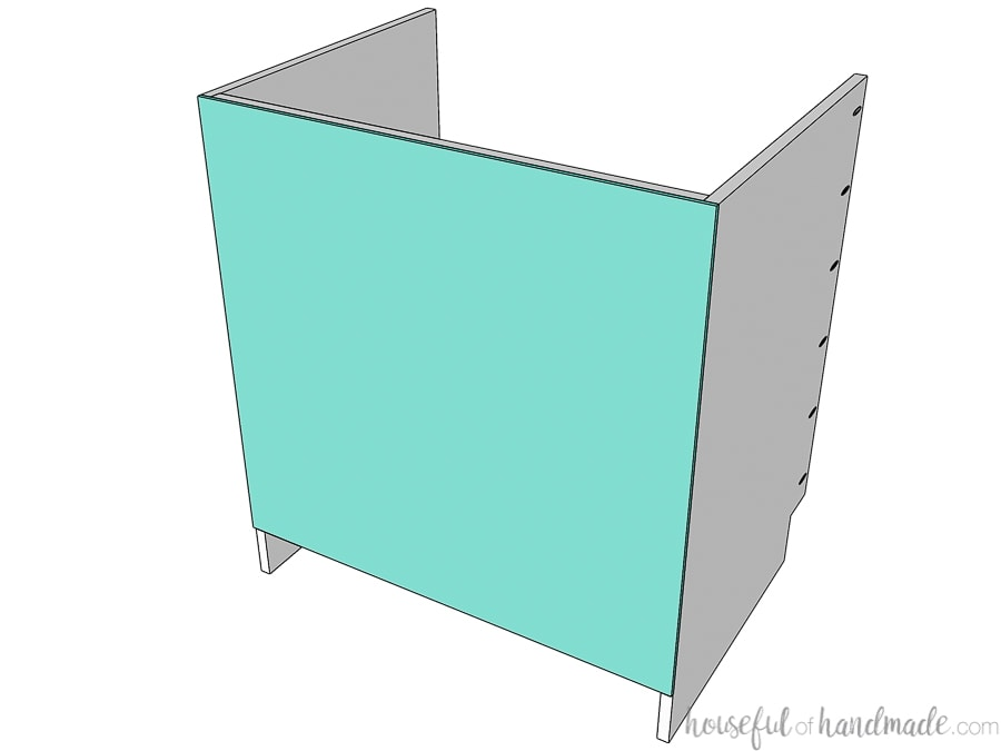 Sink base cabinet box 3D drawing with optional back panel attached.