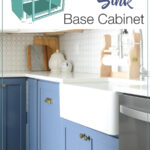 3D drawing of farmhouse sink base cabinet and photo of the completed photo with apron sink installed.