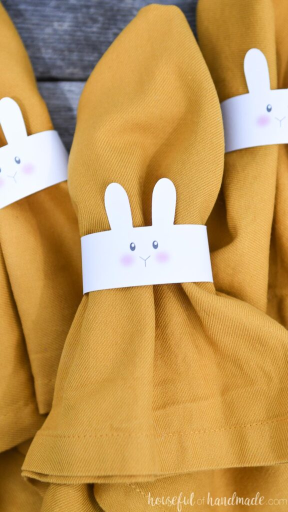Close-up of the bunny face on the front of the Easter napkin rings.