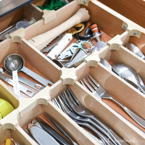 Organized drawer with wood DIY drawer dividers.