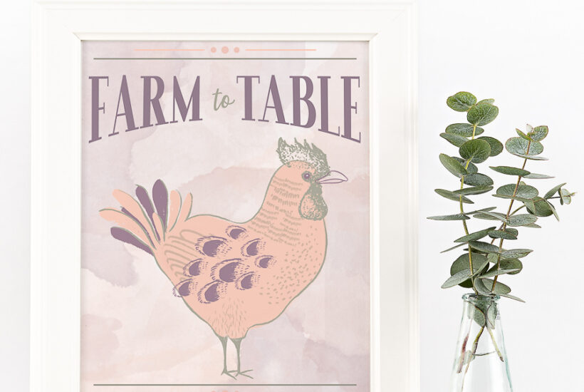 Pink and gray whimsical rooster art with words Farm to Table on it.