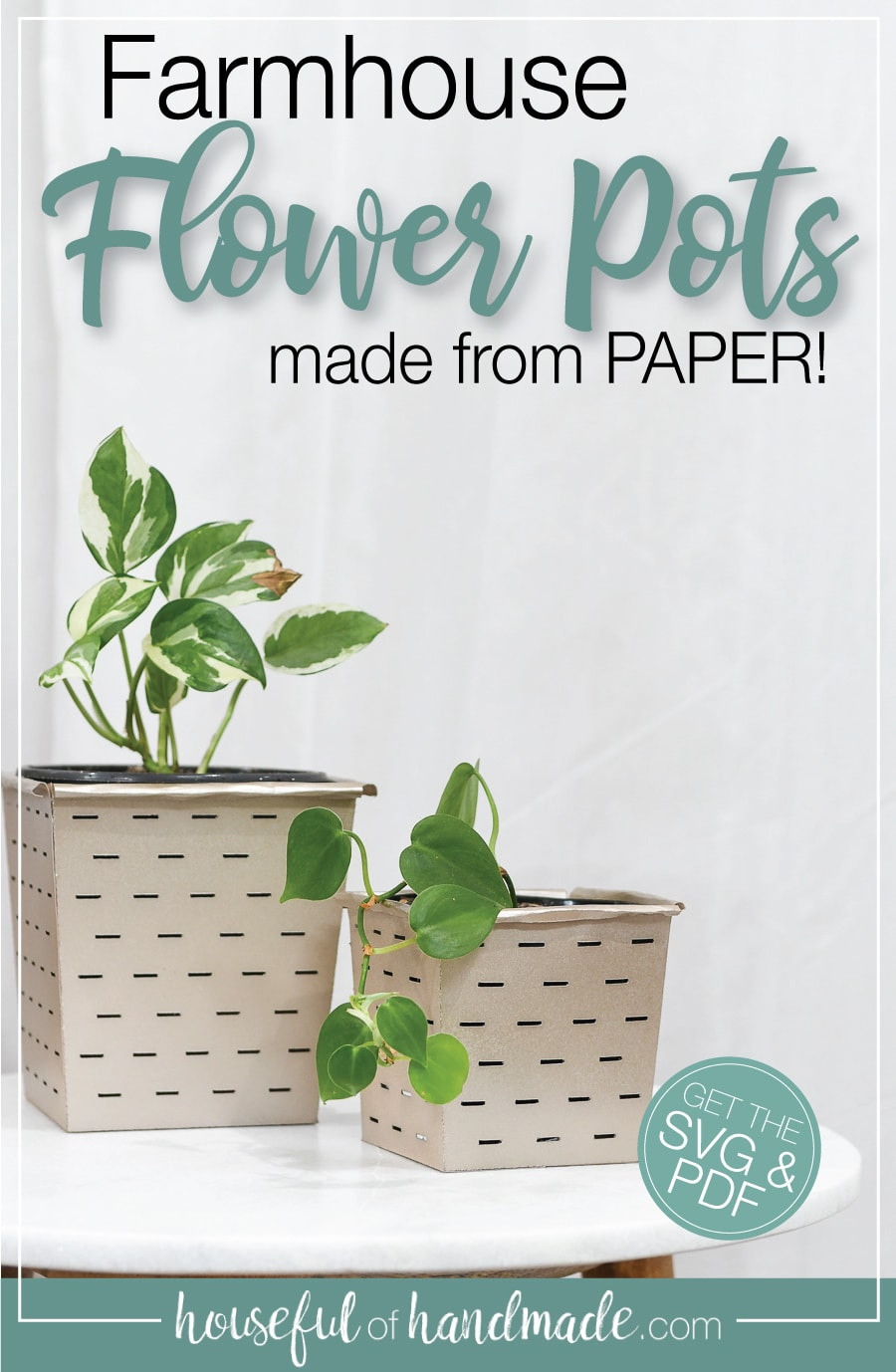 Picture of farmhouse flower pots with text overlay.