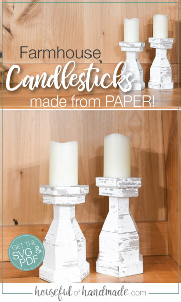 Two pictures of the chunk farmhouse candlesticks made from paper!
