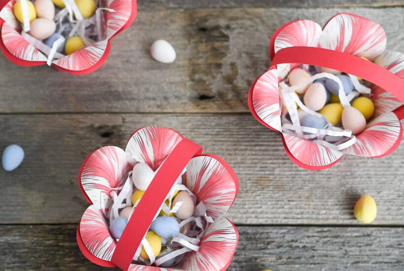 DIY Easter Basket made from paper that looks like a flower.