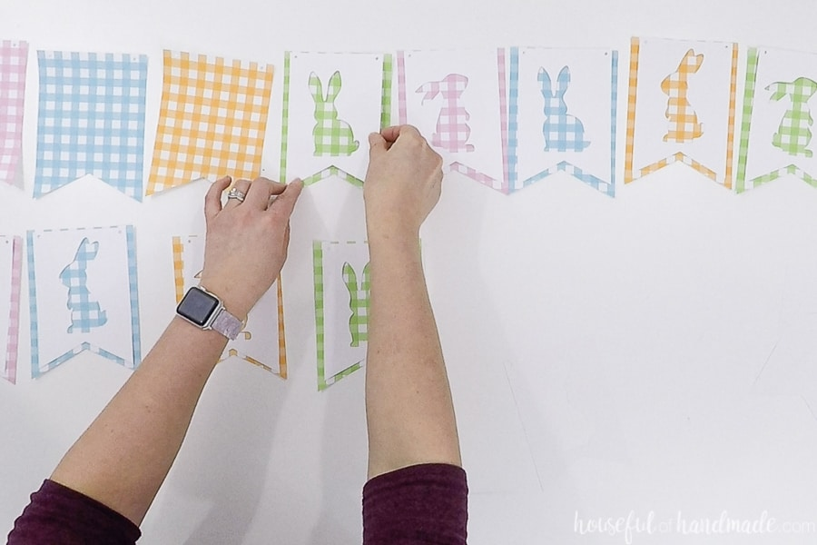 Lining up the bunny silhouette buntings with the gingham check ones.