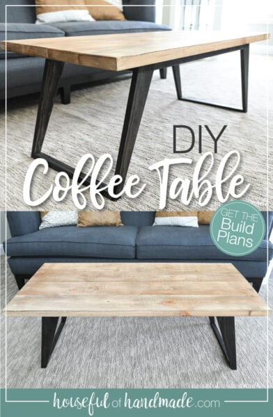 Two pictures of the DIY coffee table with text overlay.