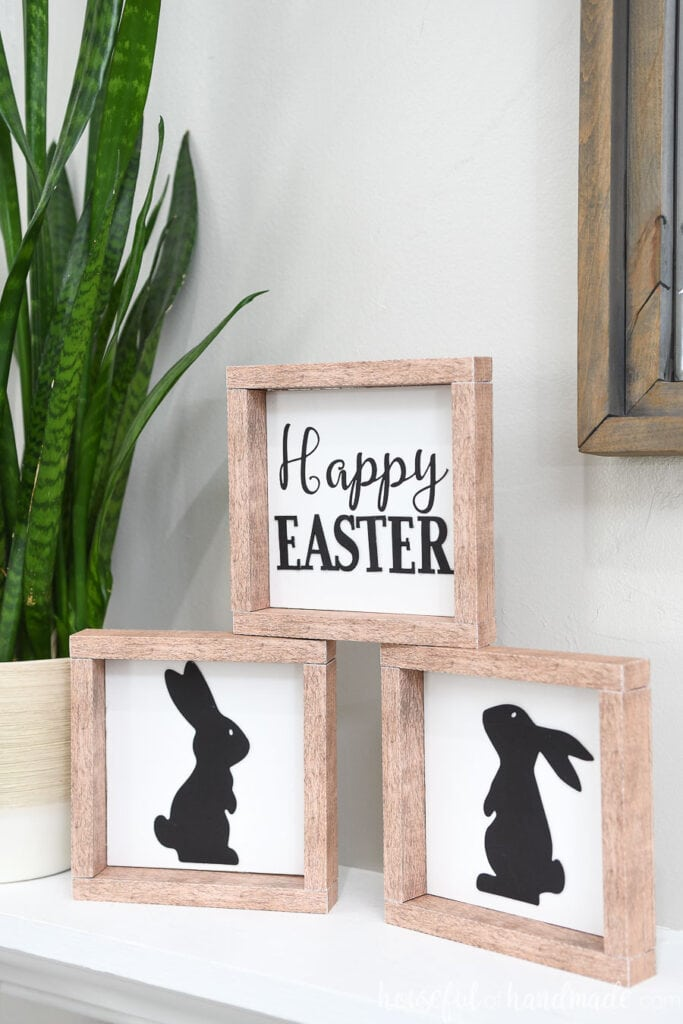 Happy Easter and bunny signs for Easter decor.