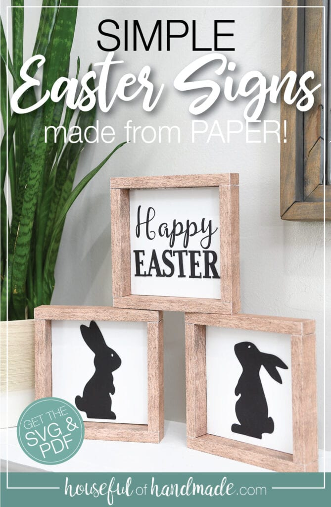 Three simple Easter signs with wood frames with text overlay.