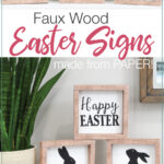Two pictures of the simple Easter Signs made from Paper stacked in different ways.